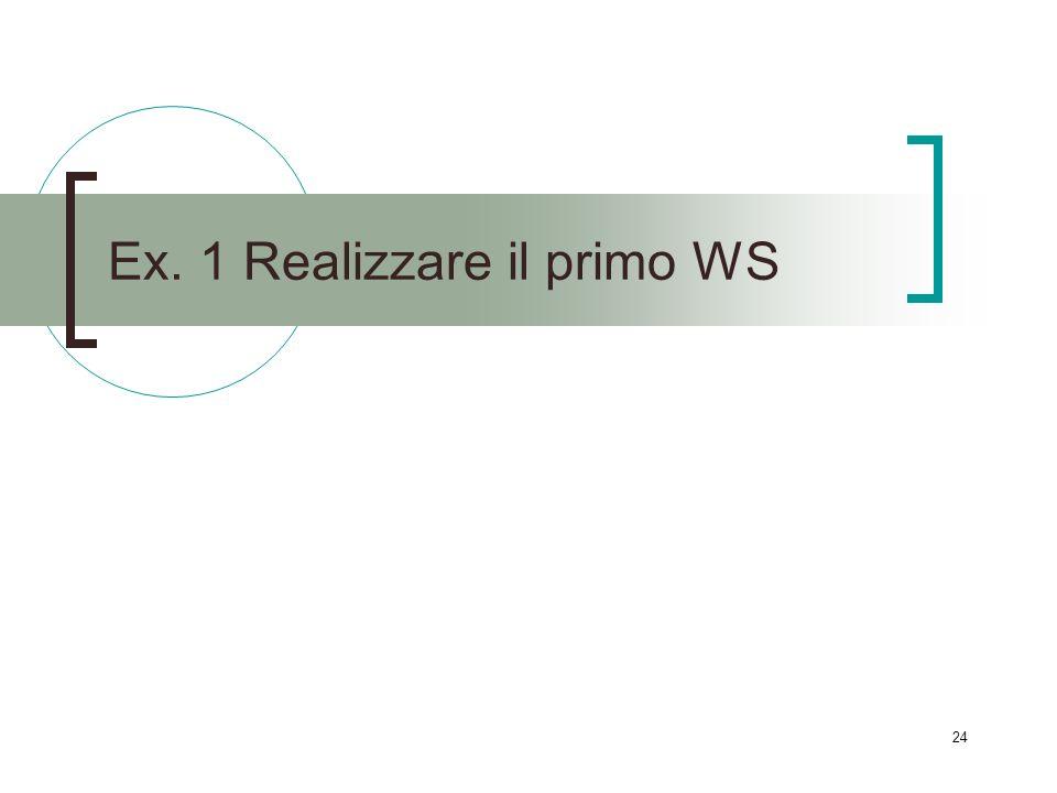 24 Ex. 1 Realizzare il primo WS