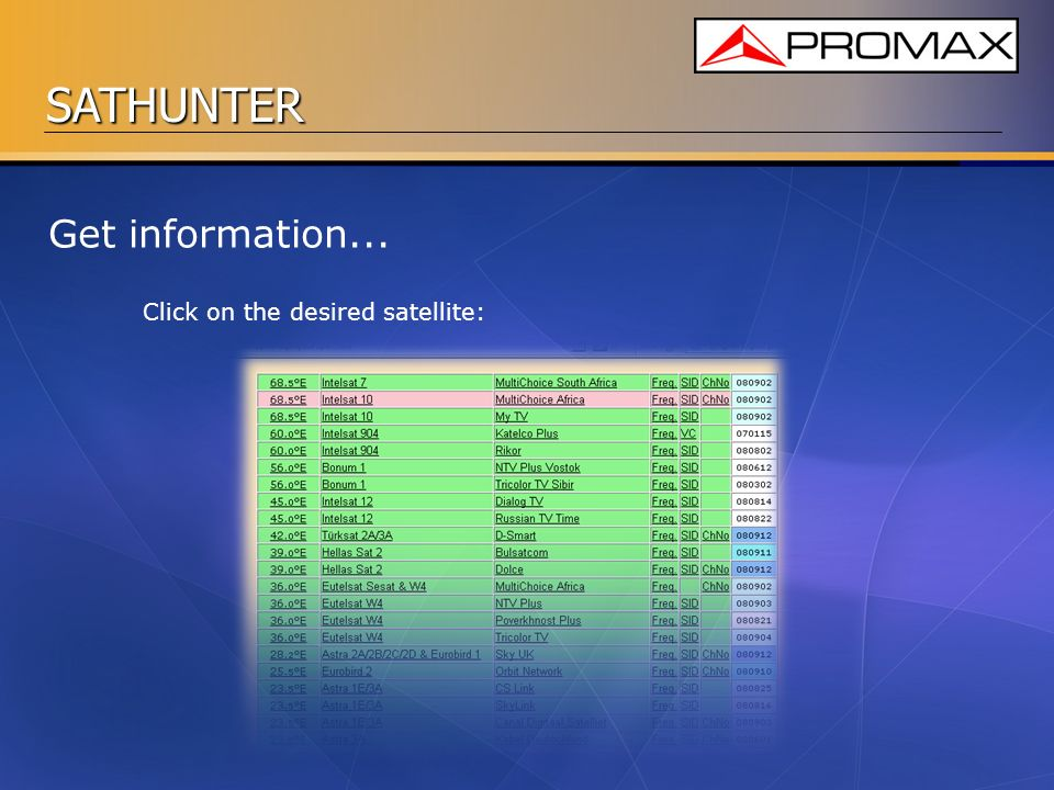 SATHUNTER Get information... Click on the desired satellite: