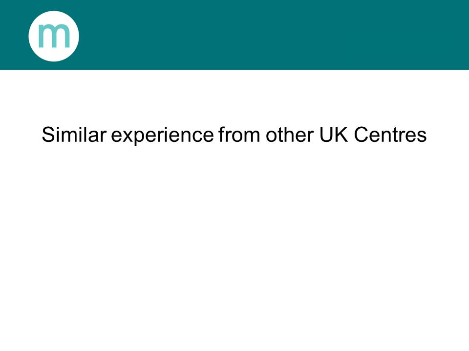 Similar experience from other UK Centres