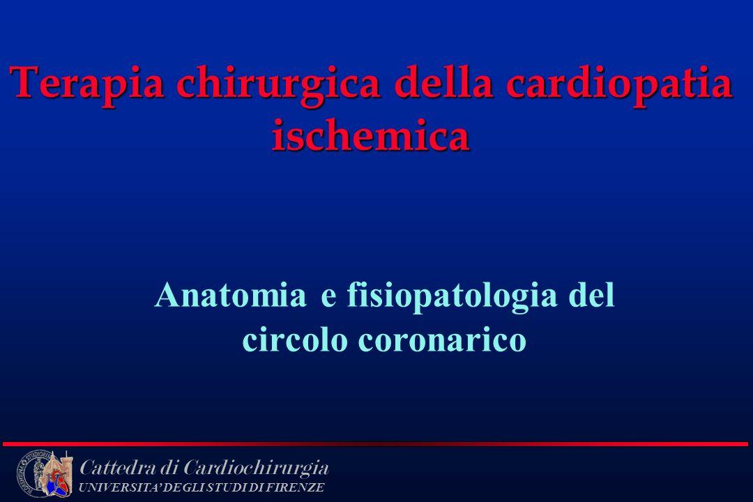 Cattedra di Cardiochirurgia UNIVERSITA DEGLI STUDI DI FIRENZE Terapia chirurgica della cardiopatia ischemica Anatomia e fisiopatologia del circolo cor