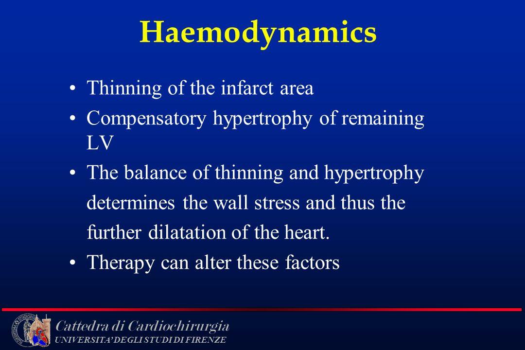 Cattedra di Cardiochirurgia UNIVERSITA DEGLI STUDI DI FIRENZE Haemodynamics Thinning of the infarct area Compensatory hypertrophy of remaining LV The