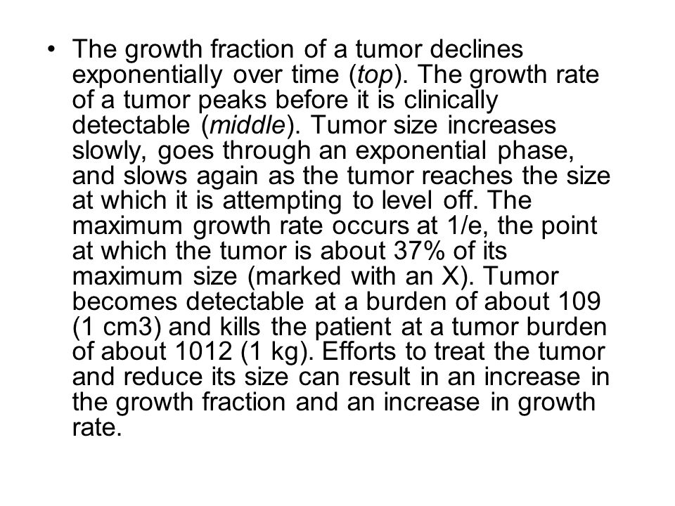 The growth fraction of a tumor declines exponentially over time (top). The growth rate of a tumor peaks before it is clinically detectable (middle). T