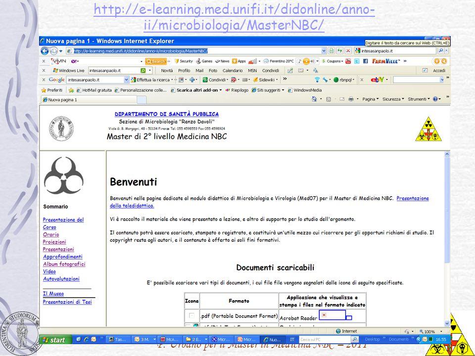 P. Urbano per il Master in Medicina NBC – 2011 http://e-learning.med.unifi.it/didonline/anno- ii/microbiologia/MasterNBC/