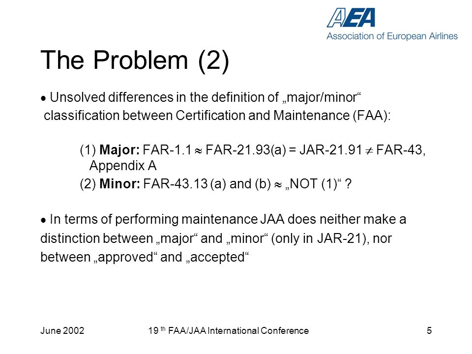 June th FAA/JAA International Conference5 The Problem (2) Unsolved differences in the definition of major/minor classification between Certification and Maintenance (FAA): (1) Major: FAR-1.1 FAR-21.93(a) = JAR FAR-43, Appendix A (2) Minor: FAR (a) and (b) NOT (1) .