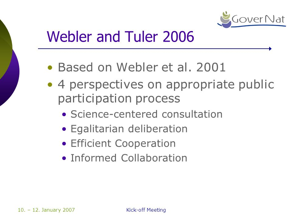 10. – 12. January 2007Kick-off Meeting Webler and Tuler 2006 Based on Webler et al. 2001 4 perspectives on appropriate public participation process Sc