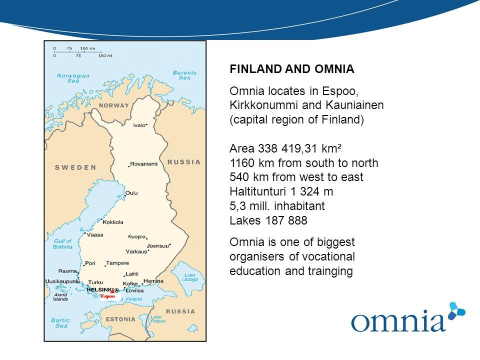 FINLAND AND OMNIA Omnia locates in Espoo, Kirkkonummi and Kauniainen (capital region of Finland) Area 338 419,31 km² 1160 km from south to north 540 k