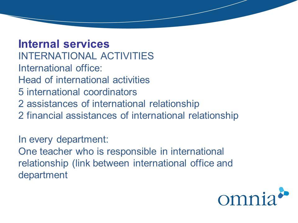 Internal services INTERNATIONAL ACTIVITIES International office: Head of international activities 5 international coordinators 2 assistances of intern