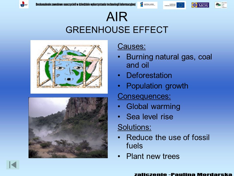 AIR ACID RAIN Causes: Air pollution Burning coal and other fossil fuels Consequences: Wildlife is damaged Lakes and rivers are polluted – fish die Hea