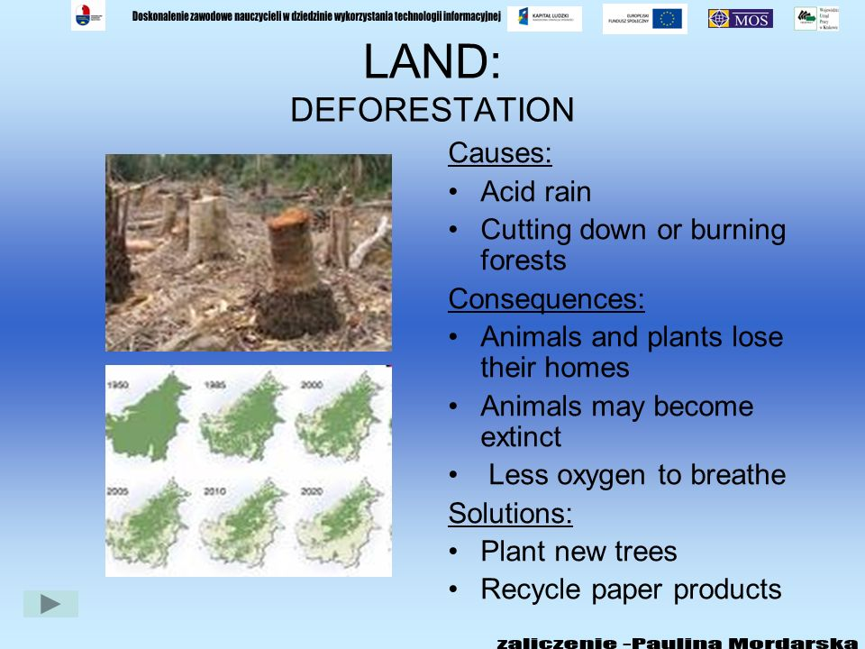 LAND: LITTER Causes: Lack of education Peoples carelessness Consequences: Streets are dirty Diseases are spread Solutions: Get involved in recycling s