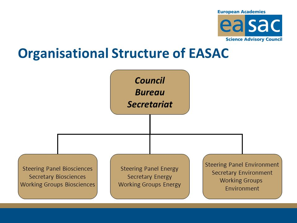Organisational Structure of EASAC Council Bureau Secretariat Steering Panel Biosciences Secretary Biosciences Working Groups Biosciences Steering Pane