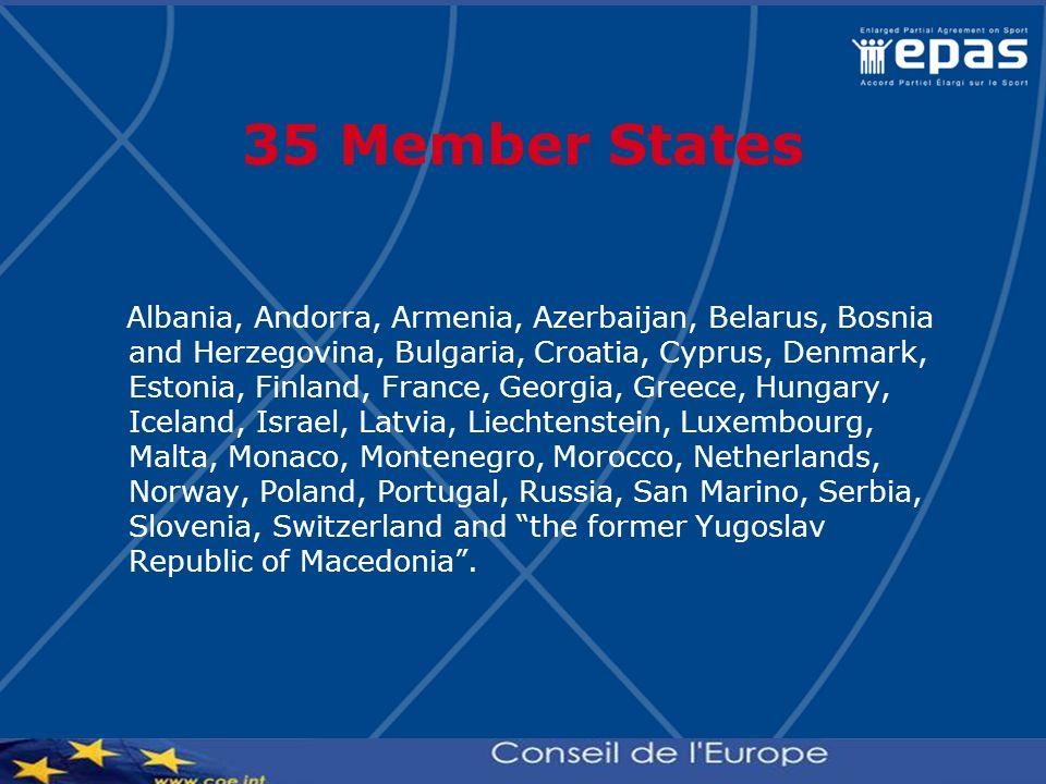 35 Member States Albania, Andorra, Armenia, Azerbaijan, Belarus, Bosnia and Herzegovina, Bulgaria, Croatia, Cyprus, Denmark, Estonia, Finland, France,
