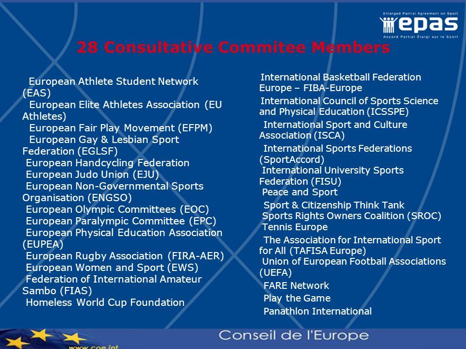 28 Consultative Commitee Members European Athlete Student Network (EAS) European Elite Athletes Association (EU Athletes) European Fair Play Movement