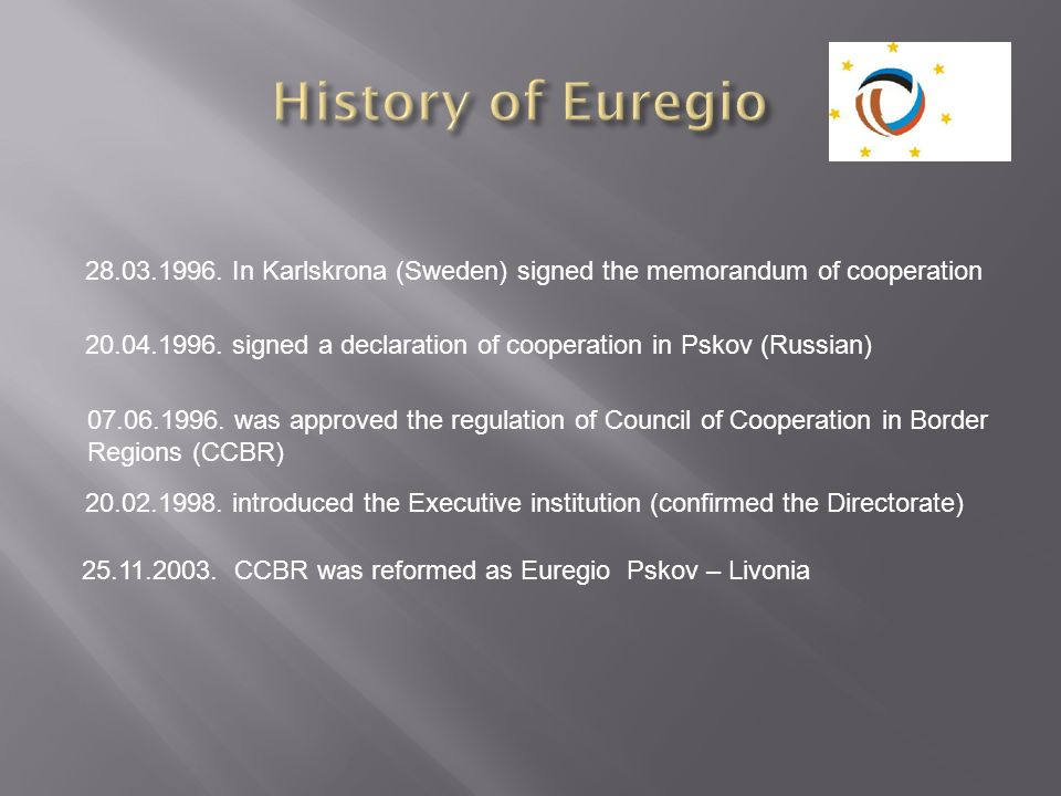 28.03.1996. In Karlskrona (Sweden) signed the memorandum of cooperation 20.04.1996. signed a declaration of cooperation in Pskov (Russian) 07.06.1996.