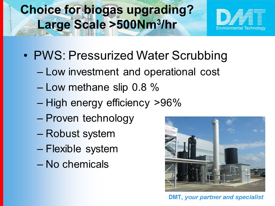 PWS: Pressurized Water Scrubbing –Low investment and operational cost –Low methane slip 0.8 % –High energy efficiency >96% –Proven technology –Robust