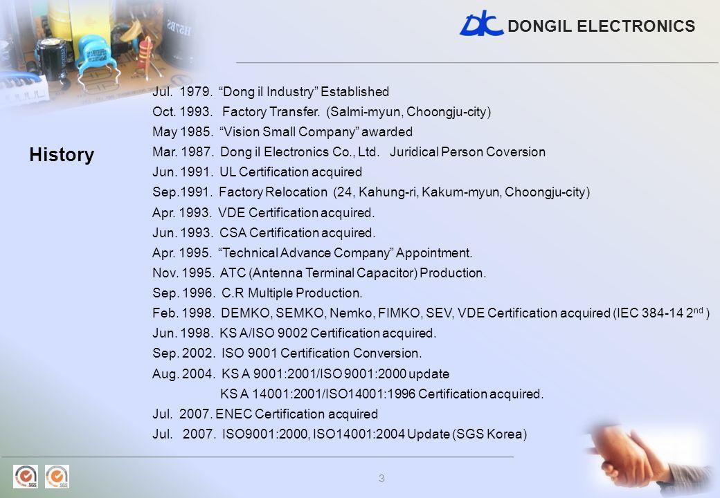 DONGIL ELECTRONICS 3 Jul. 1979. Dong il Industry Established Oct. 1993. Factory Transfer. (Salmi-myun, Choongju-city) May 1985. Vision Small Company a
