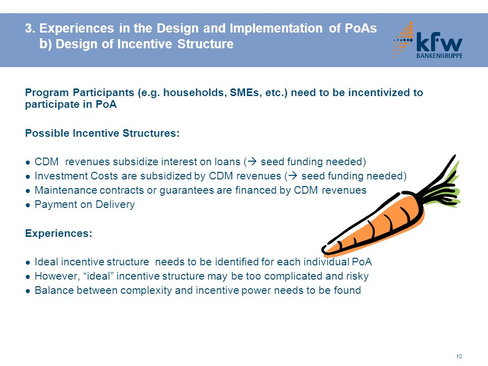 10 3. Experiences in the Design and Implementation of PoAs b ) Design of Incentive Structure Program Participants (e.g. households, SMEs, etc.) need t