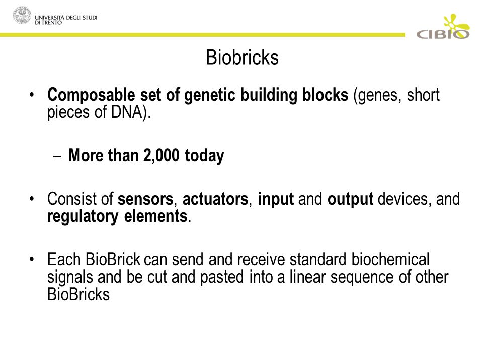 Composable set of genetic building blocks (genes, short pieces of DNA).
