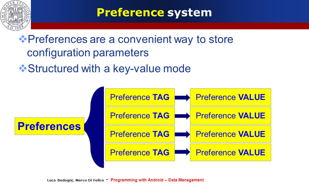 Luca Bedogni, Marco Di Felice - Programming with Android – Data Management Preference system Preferences are a convenient way to store configuration p