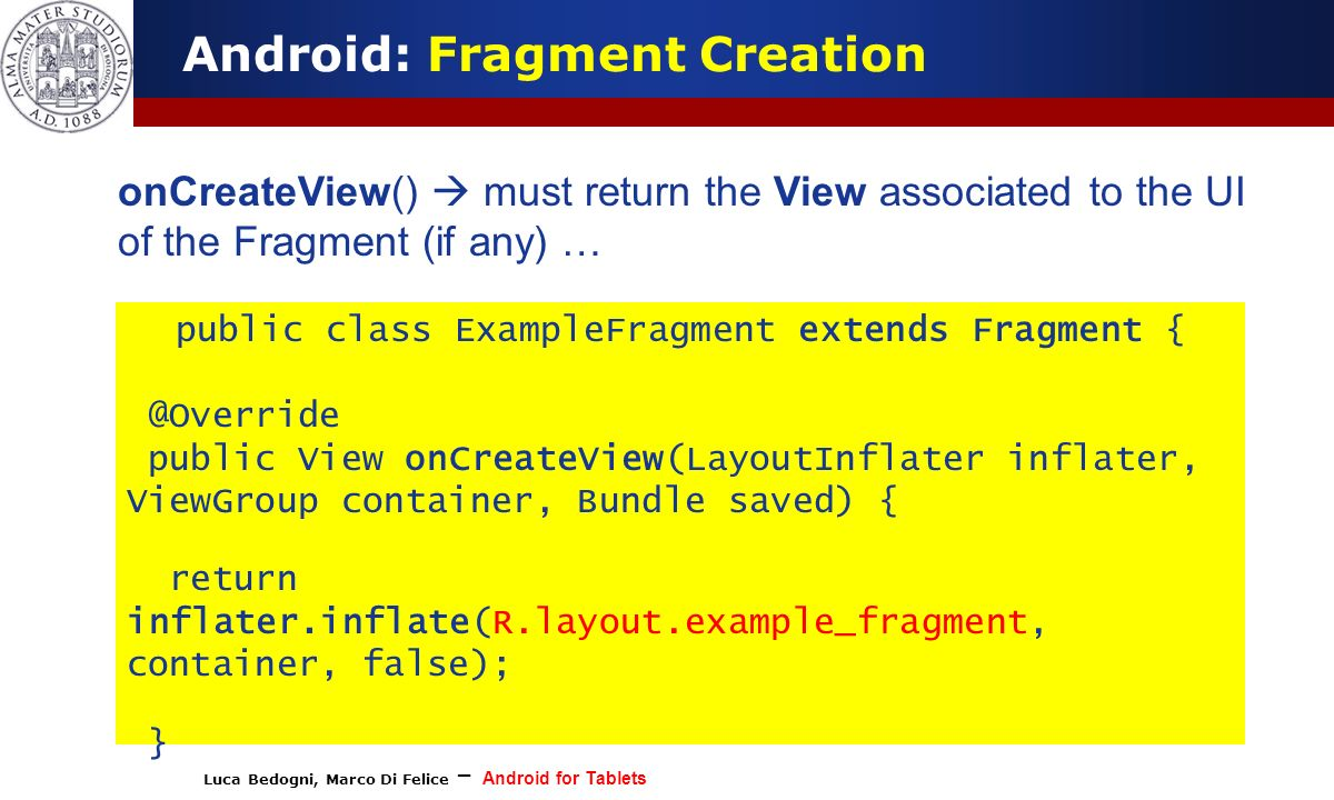 Luca Bedogni, Marco Di Felice – Android for Tablets (c) Luca Bedogni 2012 10 Android: Fragment Creation onCreateView() must return the View associated