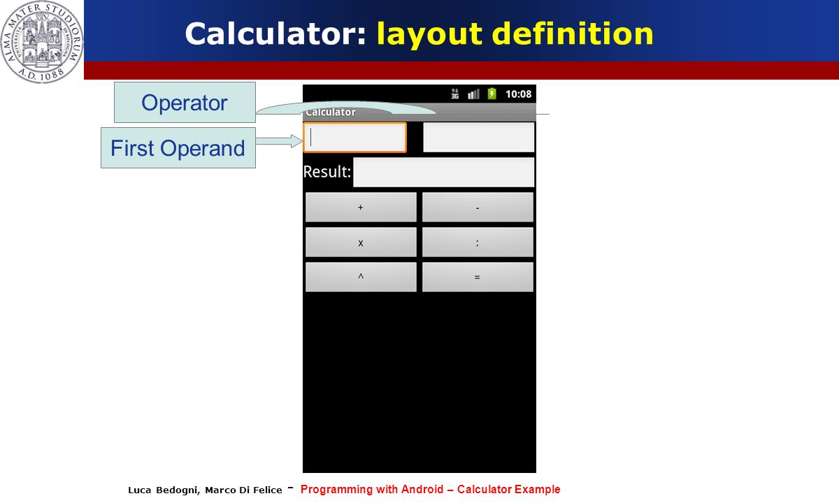 Luca Bedogni, Marco Di Felice - Programming with Android – Calculator Example Calculator: layout definition First Operand Operator