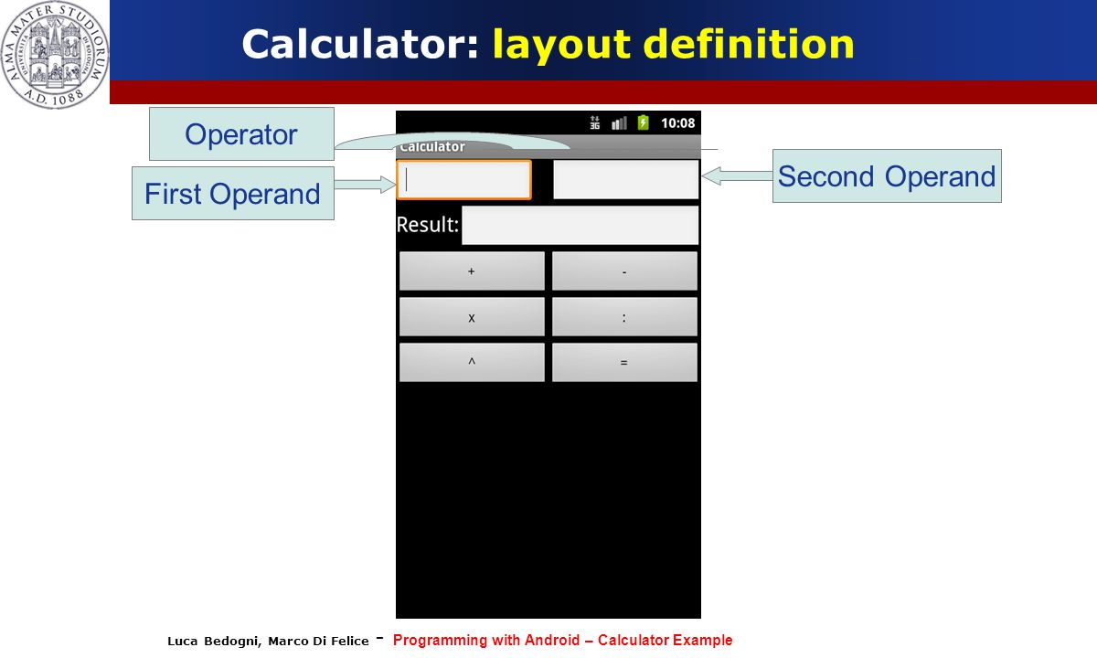 Luca Bedogni, Marco Di Felice - Programming with Android – Calculator Example Calculator: layout definition First Operand Operator Second Operand
