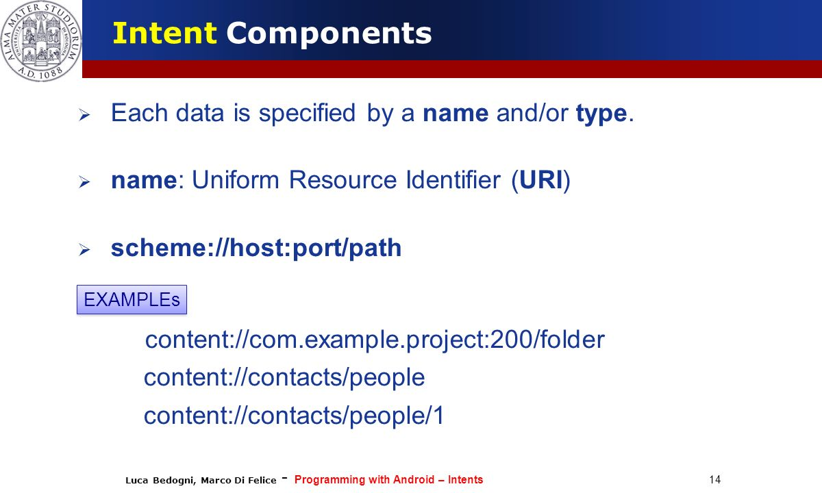 Luca Bedogni, Marco Di Felice - Programming with Android – Intents 14 Intent Components Each data is specified by a name and/or type. name: Uniform Re