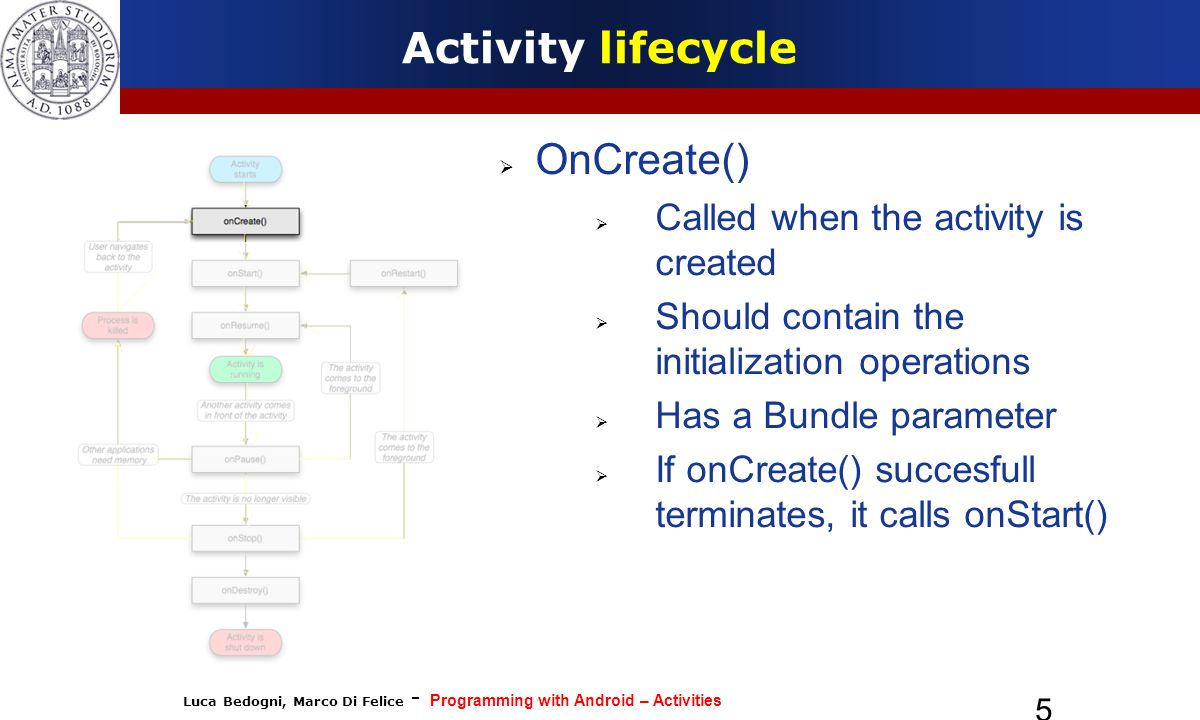 Luca Bedogni, Marco Di Felice - Programming with Android – Activities 5 Activity lifecycle OnCreate() Called when the activity is created Should conta
