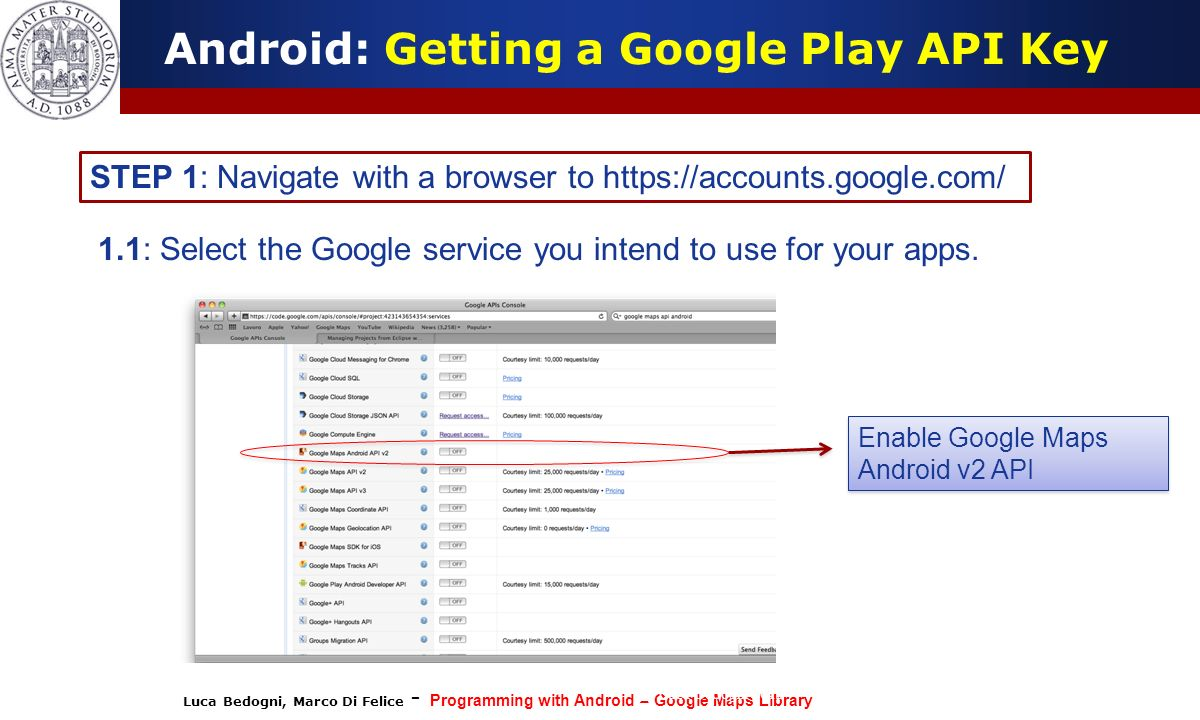 Luca Bedogni, Marco Di Felice - Programming with Android – Google Maps Library (c) Luca Bedogni 2012 31 Android: Getting a Google Play API Key STEP 1: