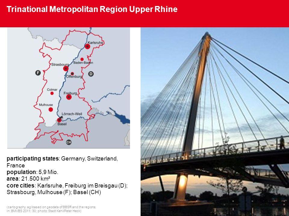 Die metropolitanen Grenzregionen im IMeG participating states: Germany, Switzerland, France population: 5,9 Mio. area: 21.500 km² core cities: Karlsru