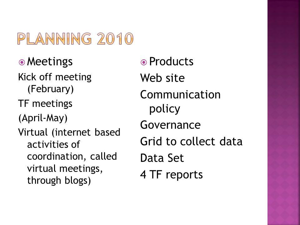 Meetings Kick off meeting (February) TF meetings (April-May) Virtual (internet based activities of coordination, called virtual meetings, through blog