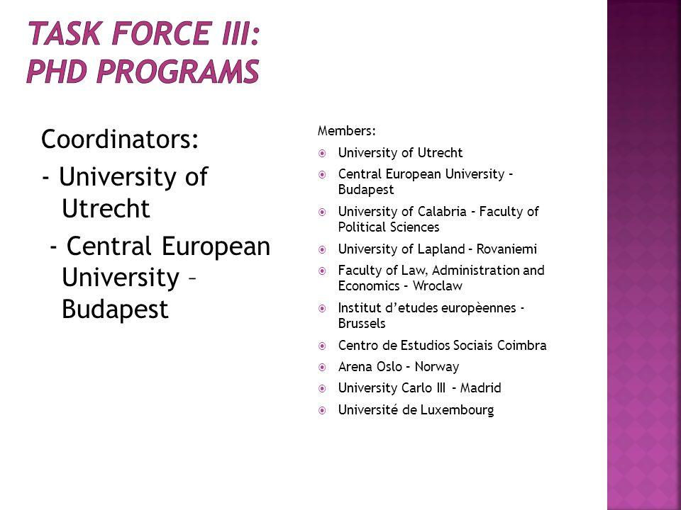 Coordinators: - University of Utrecht - Central European University – Budapest Members: University of Utrecht Central European University – Budapest U
