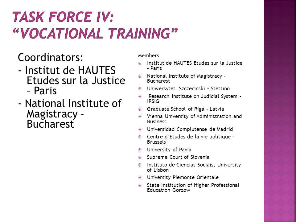 Coordinators: - Institut de HAUTES Etudes sur la Justice – Paris - National Institute of Magistracy - Bucharest Members: Institut de HAUTES Etudes sur