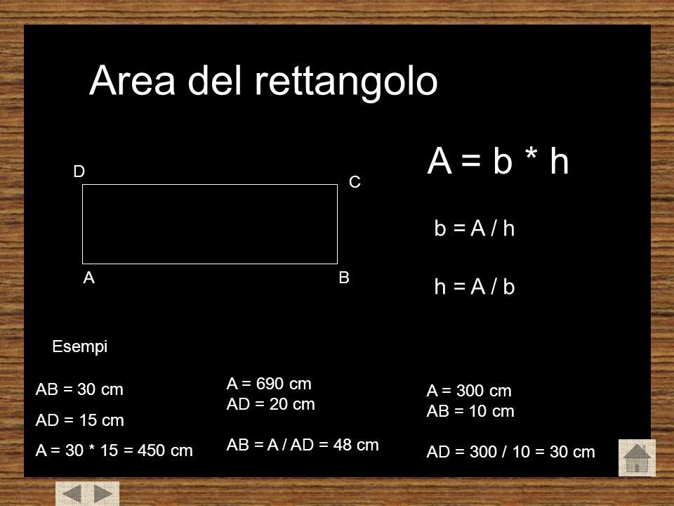 Area del rettangolo AB C D A = b * h b = A / h h = A / b Esempi AB = 30 cm AD = 15 cm A = 30 * 15 = 450 cm A = 690 cm AD = 20 cm AB = A / AD = 48 cm A = 300 cm AB = 10 cm AD = 300 / 10 = 30 cm