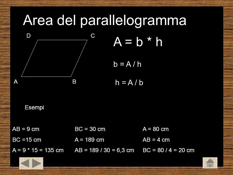 Area del parallelogramma AB CD A = b * h b = A / h h = A / b Esempi AB = 9 cm BC =15 cm A = 9 * 15 = 135 cm BC = 30 cm A = 189 cm AB = 189 / 30 = 6,3 cm A = 80 cm AB = 4 cm BC = 80 / 4 = 20 cm