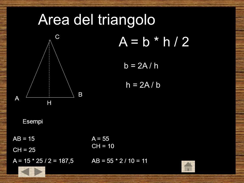 A B C Area del triangolo A = b * h / 2 Esempi b = 2A / h h = 2A / b H AB = 15 CH = 25 A = 15 * 25 / 2 = 187,5 A = 55 CH = 10 AB = 55 * 2 / 10 = 11 A = 100 AB = 10 CH = 98 * 2 / 18