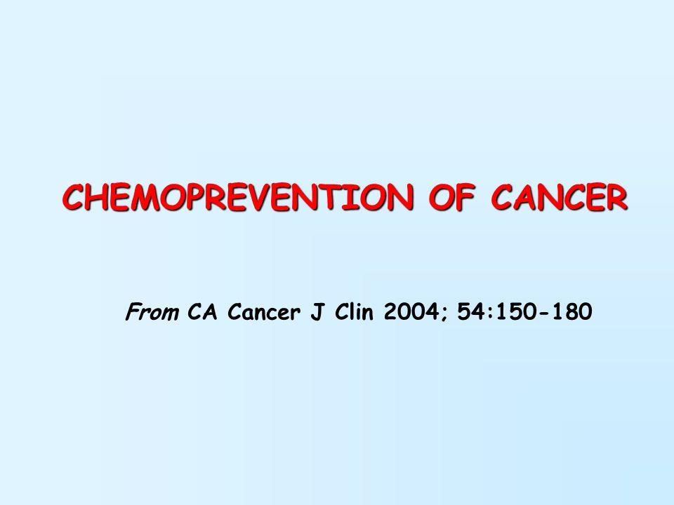 La chemioprevenzione viene definita come luso di composti chimici naturali, sintetici, o biologici per revertire, sopprimere o prevenire la progressione in cancro invasivo.