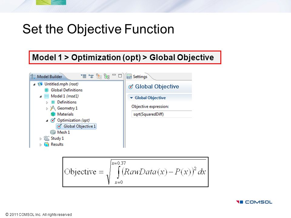 © 2011 COMSOL Inc. All rights reserved Set the Objective Function Model 1 > Optimization (opt) > Global Objective
