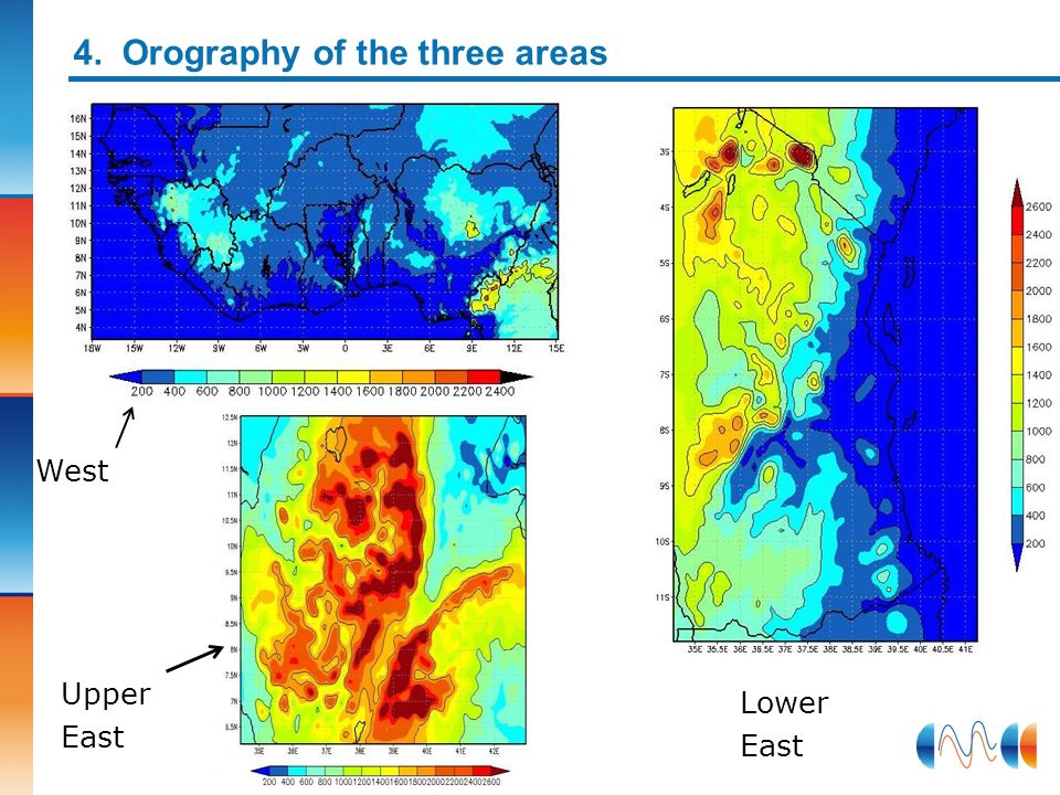 4. Orography of the three areas West Upper East Lower East