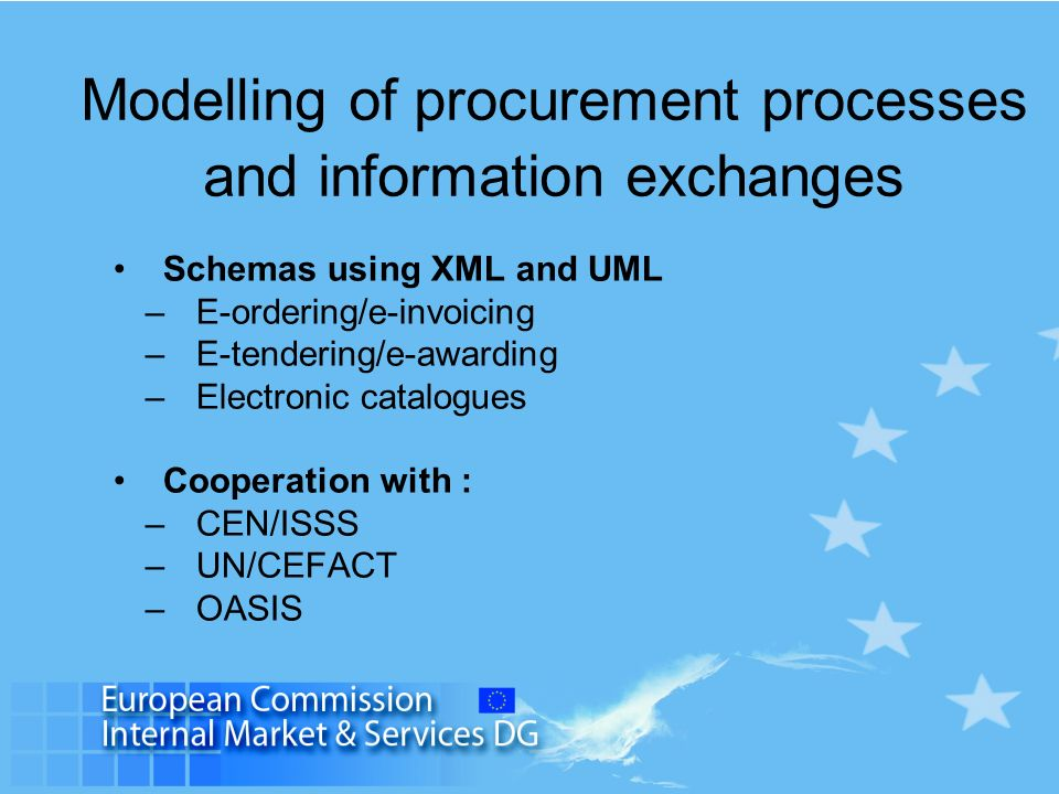 Modelling of procurement processes and information exchanges Schemas using XML and UML –E-ordering/e-invoicing –E-tendering/e-awarding –Electronic cat