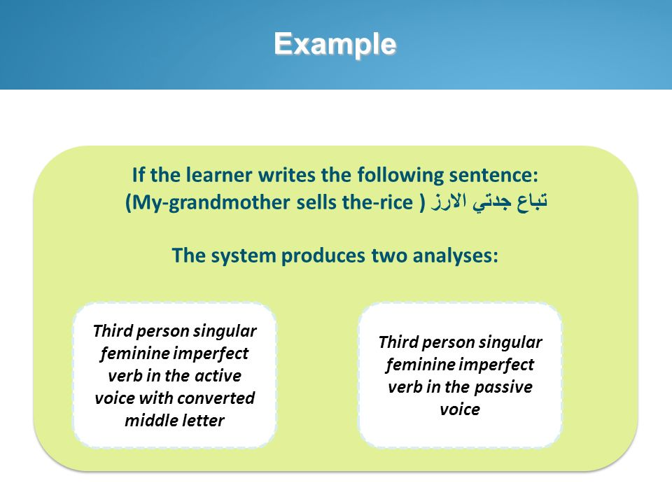 Example If the learner writes the following sentence: تباع جدتي الارز (My-grandmother sells the-rice ) The system produces two analyses: If the learne