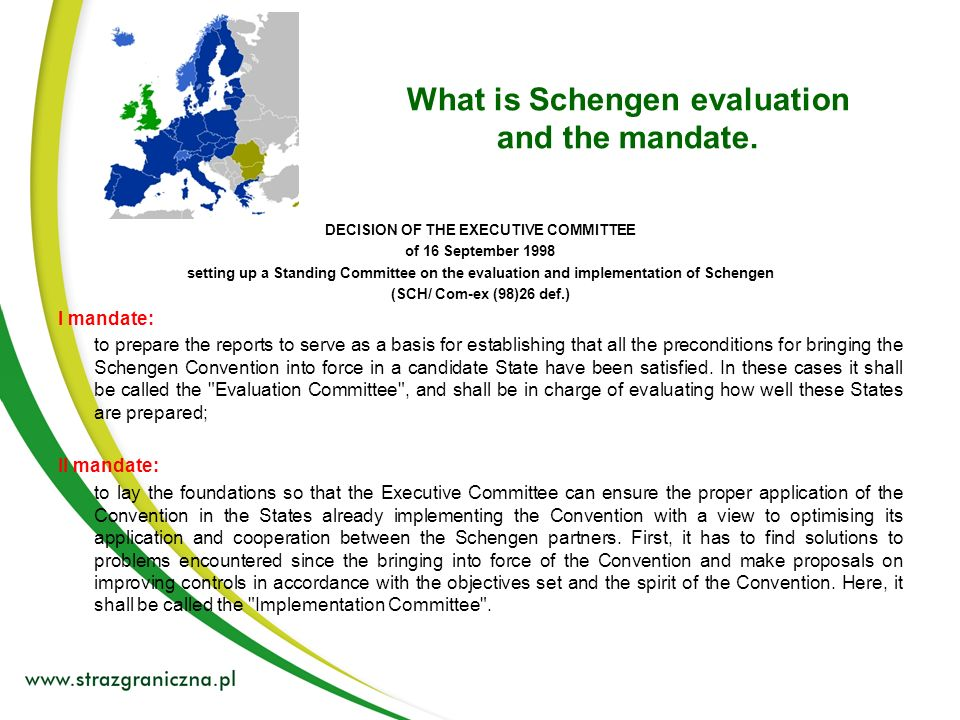 Areas of Schengen Evaluation: 1.Borders: a). Land border b).