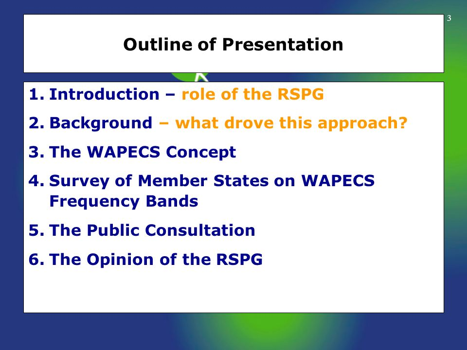 3 Outline of Presentation 1.Introduction – role of the RSPG 2.Background – what drove this approach? 3.The WAPECS Concept 4.Survey of Member States on