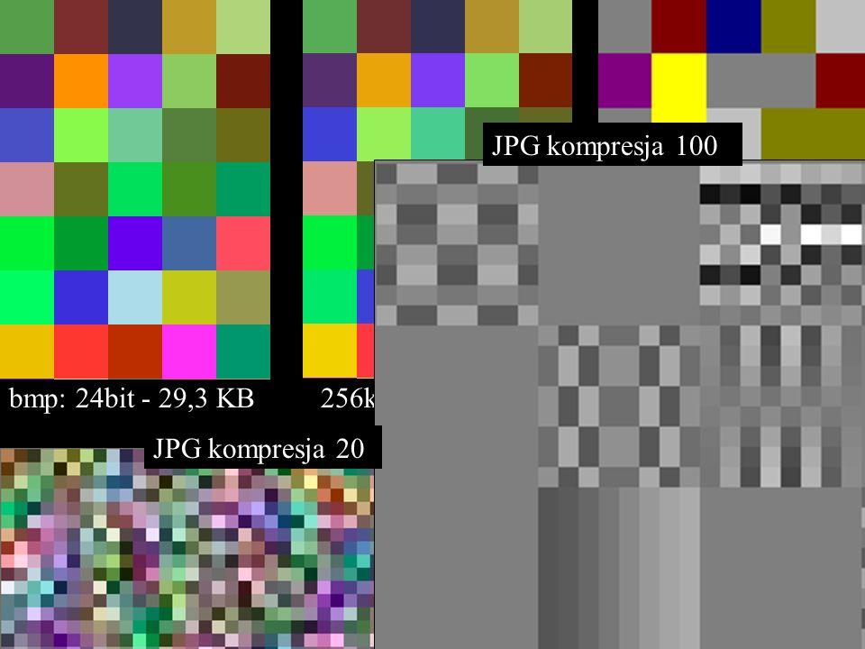 bmp: 24bit - 29,3 KB 256kolor – 10,8 KB 16kolor – 5,19 KB JPG kompresja 20 JPG kompresja 100