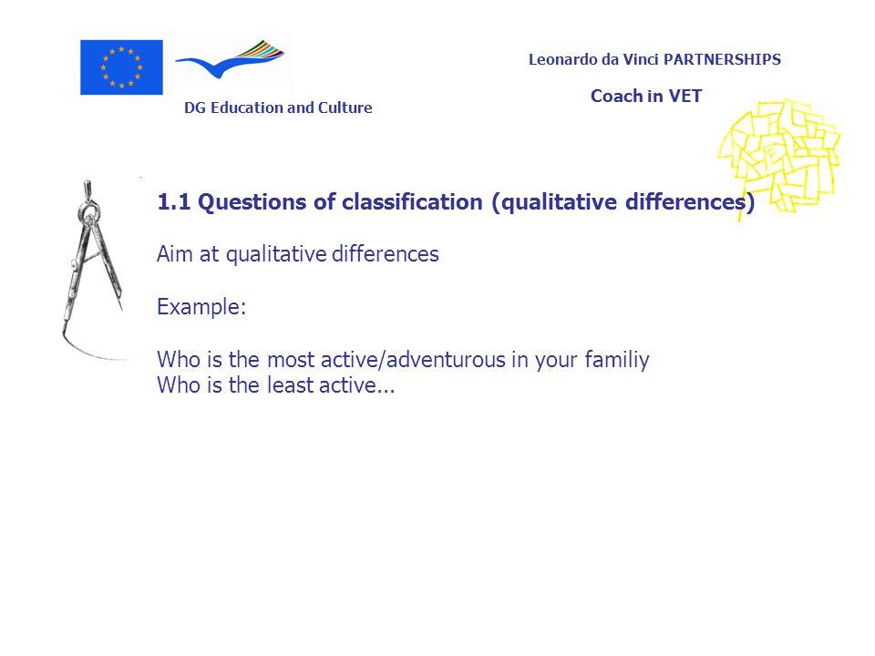DG Education and Culture Leonardo da Vinci PARTNERSHIPS Coach in VET 1.1 Questions of classification (qualitative differences) Aim at qualitative diff
