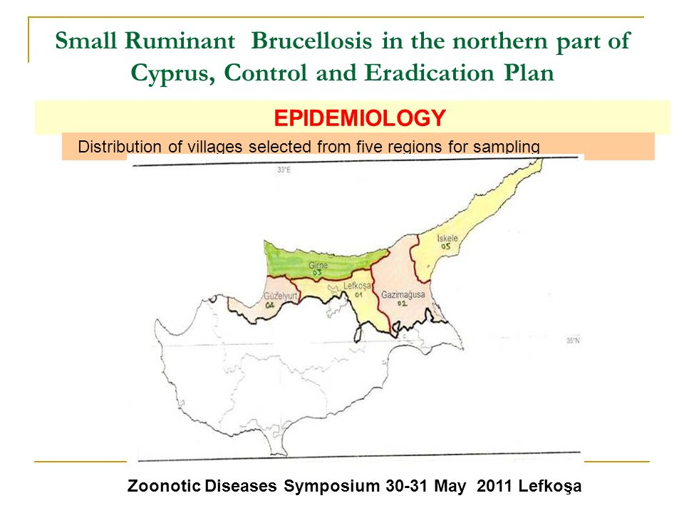 Small Ruminant Brucellosis in the northern part of Cyprus, Control and Eradication Plan Zoonotic Diseases Symposium 30-31 May 2011 Lefkoşa EPIDEMIOLOG