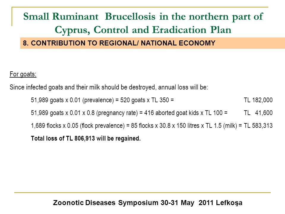 Small Ruminant Brucellosis in the northern part of Cyprus, Control and Eradication Plan Zoonotic Diseases Symposium 30-31 May 2011 Lefkoşa 8. CONTRIBU
