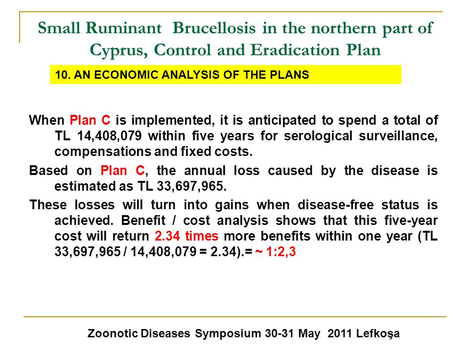 Small Ruminant Brucellosis in the northern part of Cyprus, Control and Eradication Plan Zoonotic Diseases Symposium 30-31 May 2011 Lefkoşa 10. AN ECON