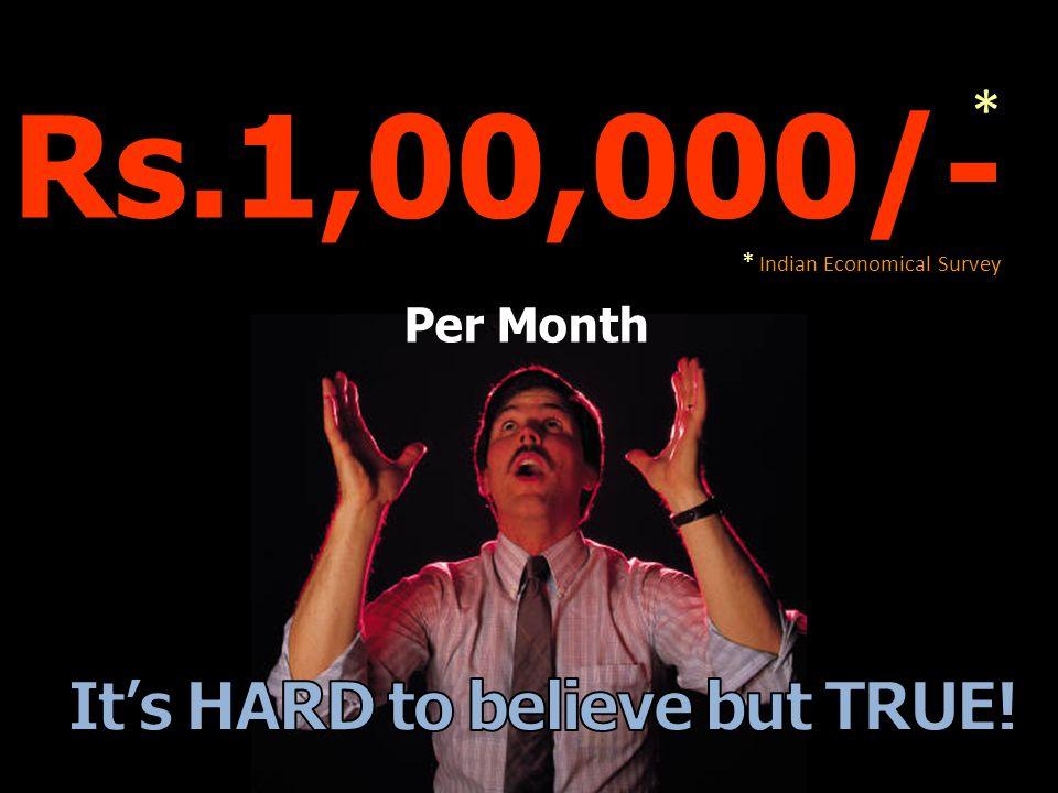 Rs.1,00,000/- * Indian Economical Survey * Per Month