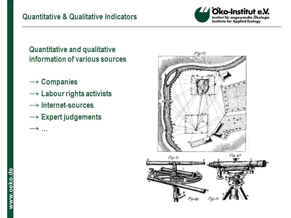 www.oeko.de Quantitative & Qualitative Indicators Quantitative and qualitative information of various sources Companies Labour rights activists Intern