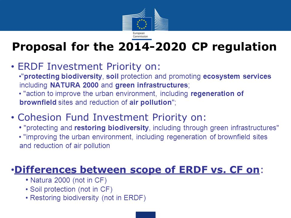 Proposal for the 2014-2020 CP regulation ERDF Investment Priority on: